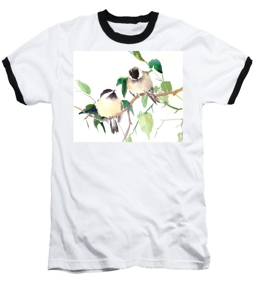 Chickadees Baseball T-Shirt by Suren Nersisyan