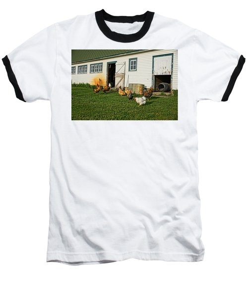 Baseball T-Shirt featuring the photograph Chickens By The Barn by Steven Clipperton