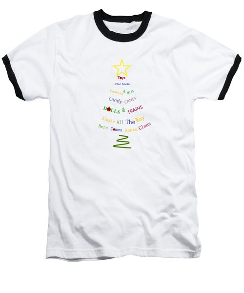 Children Holiday Tree - Christmas Typography Baseball T-Shirt