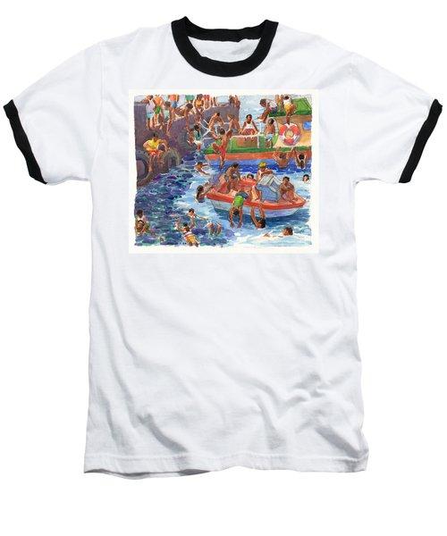 Children Playing At Avarua Wharf  Baseball T-Shirt