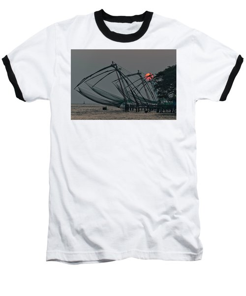 Baseball T-Shirt featuring the photograph Chinese Fishing Nets, Cochin by Marion Galt