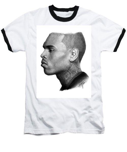 Chris Brown Drawing By Sofia Furniel Baseball T-Shirt by Sofia Furniel
