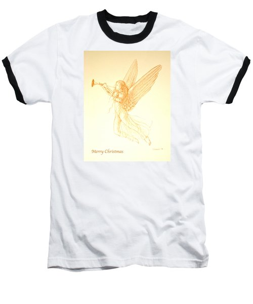Christmas Angel With Trumpet Baseball T-Shirt by Deborah Dendler