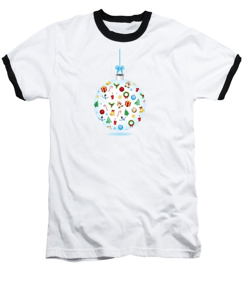 Christmas Bulb Art And Greeting Card Baseball T-Shirt