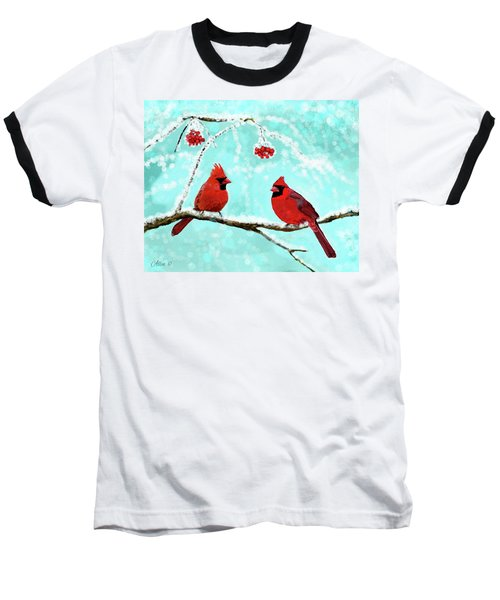 Baseball T-Shirt featuring the painting Christmas Cardinals by Leslie Allen