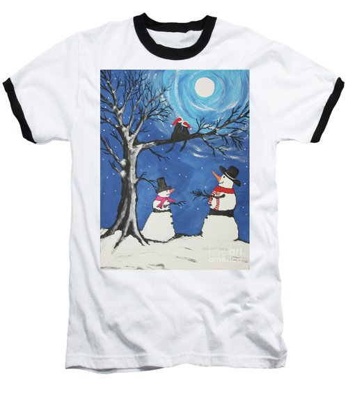 Christmas Cats In Love Baseball T-Shirt by Jeffrey Koss