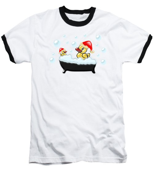 Christmas Ducks Baseball T-Shirt by Anastasiya Malakhova