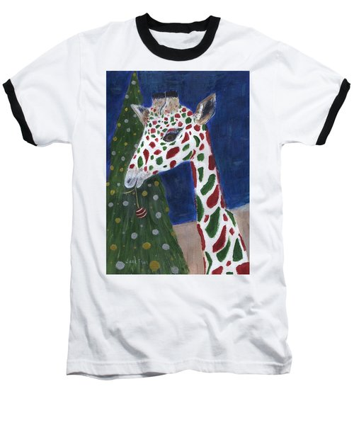 Baseball T-Shirt featuring the painting Christmas Giraffe by Jamie Frier