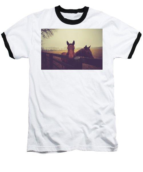 Baseball T-Shirt featuring the photograph Christmas Horses by Shane Holsclaw