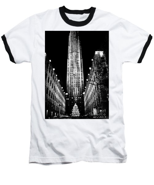Christmas In New York City Baseball T-Shirt by Carol F Austin
