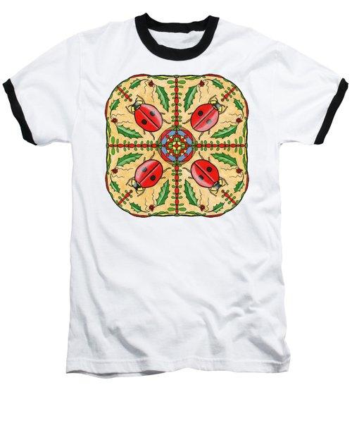 Christmas Ladybug Mandala Baseball T-Shirt by Tanya Provines