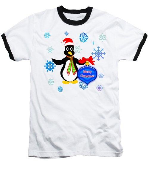 Christmas Penguin Baseball T-Shirt
