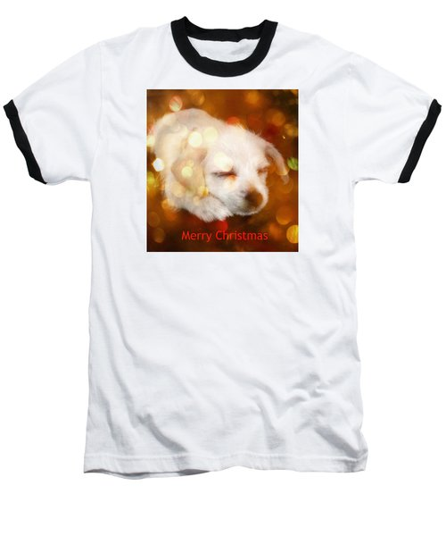 Baseball T-Shirt featuring the photograph Christmas Puppy by Amanda Eberly-Kudamik