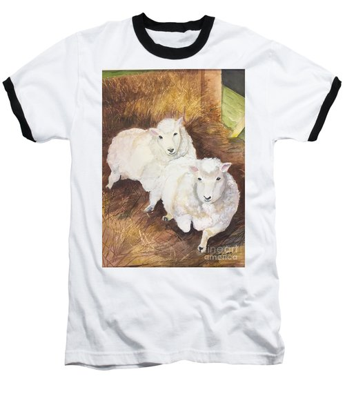 Baseball T-Shirt featuring the painting Christmas Sheep by Lucia Grilletto