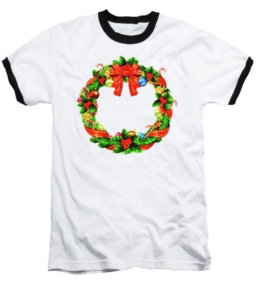 Christmas Wreath Baseball T-Shirt