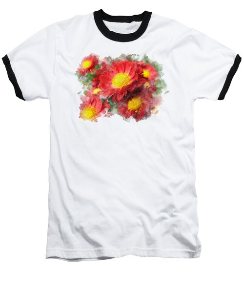 Chrysanthemum Watercolor Art Baseball T-Shirt