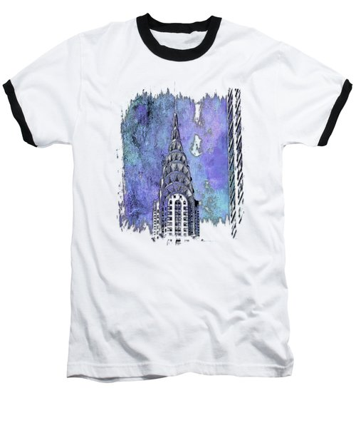 Chrysler Spire Berry Blues 3 Dimensional Baseball T-Shirt by Di Designs
