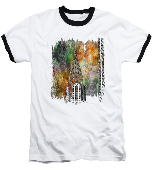 Chrysler Spire Muted Rainbow 3 Dimensional Baseball T-Shirt by Di Designs