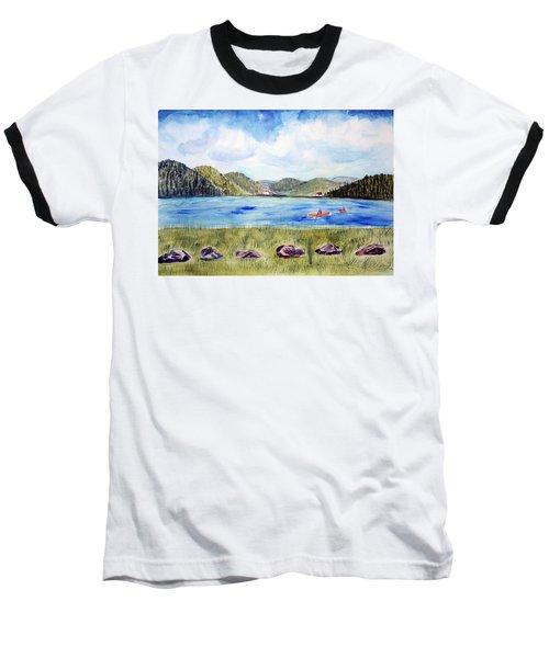 Baseball T-Shirt featuring the painting Chrystal Lake  Barton Vt  by Donna Walsh
