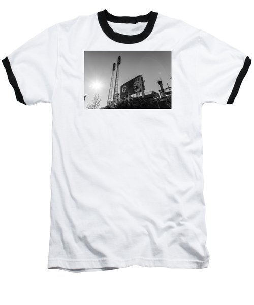 Cincinnati Reds Riverfront Stadium Black And White  Baseball T-Shirt by John McGraw