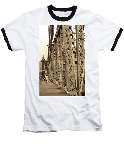 Cincinnati - Roebling Bridge 3 Sepia Baseball T-Shirt by Frank Romeo