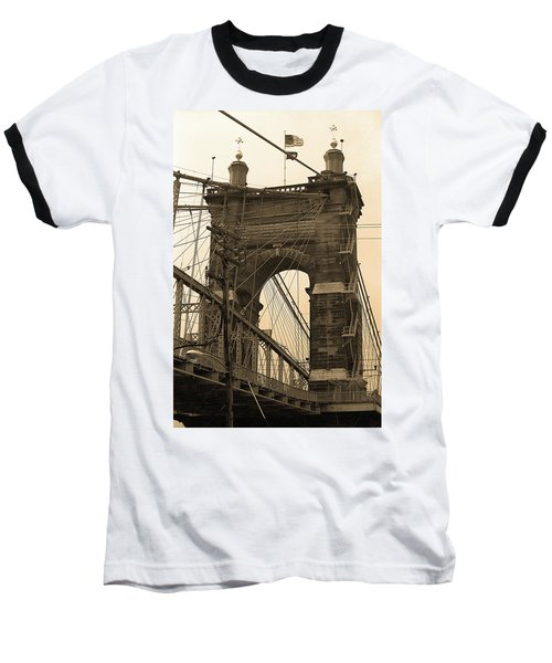 Cincinnati - Roebling Bridge 4 Sepia Baseball T-Shirt by Frank Romeo
