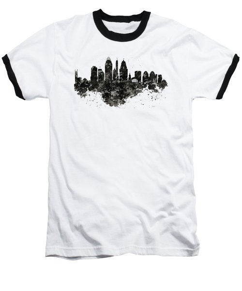 Baseball T-Shirt featuring the mixed media Cincinnati Skyline Black And White by Marian Voicu