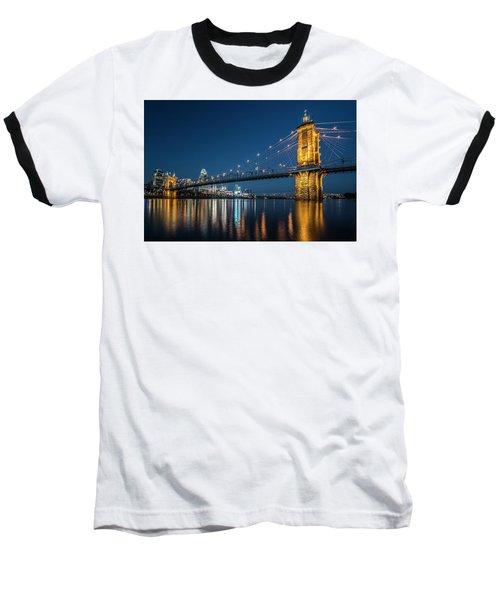 Cincinnati's Roebling Suspension Bridge At Dusk Baseball T-Shirt