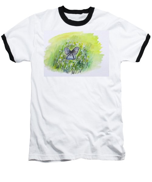 Cindy's Butterfly Baseball T-Shirt by Clyde J Kell