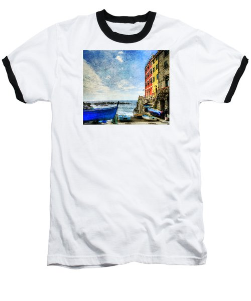 Cinque Terre - Little Port Of Riomaggiore - Vintage Version Baseball T-Shirt