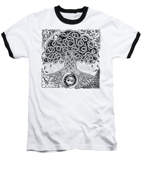 Circle Celtic Tree Of Life Inked Baseball T-Shirt by Kristen Fox