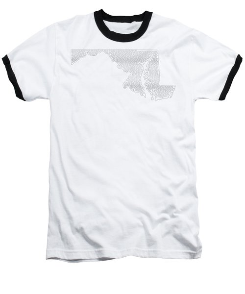 Cities And Towns In Maryland Black Baseball T-Shirt by Custom Home Fashions