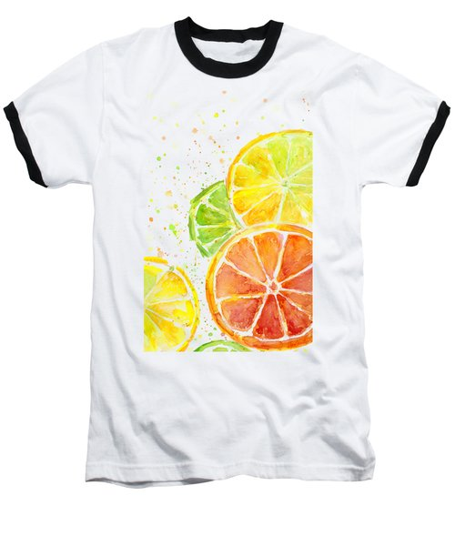 Citrus Fruit Watercolor Baseball T-Shirt