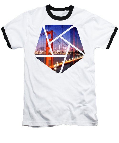 City Art Golden Gate Bridge Composing Baseball T-Shirt by Melanie Viola