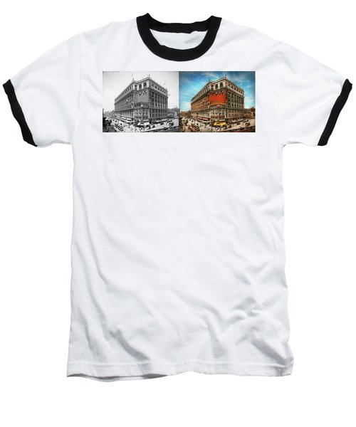 Baseball T-Shirt featuring the photograph City - Ny New York - The Nation's Largest Dept Store 1908 - Side by Mike Savad