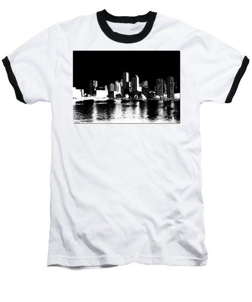 City Of Boston Skyline   Baseball T-Shirt by Enki Art