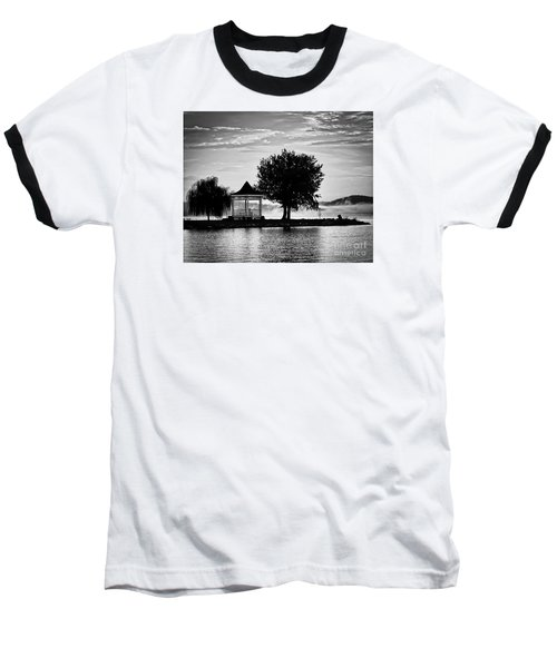 Claytor Lake Gazebo - Black And White Baseball T-Shirt