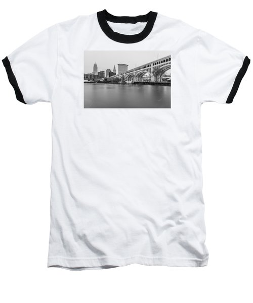 Cleveland Skyline In Black And White  Baseball T-Shirt by John McGraw