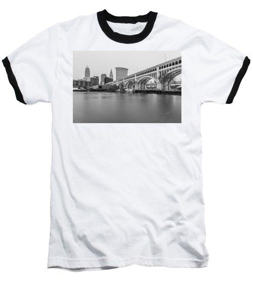 Cleveland Skyline In Black And White  Baseball T-Shirt