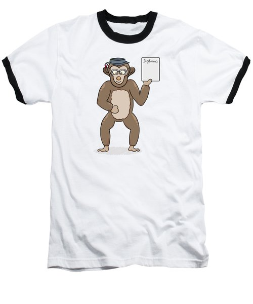 Clever Monkey With Diploma Baseball T-Shirt