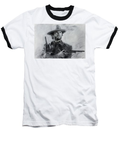 Baseball T-Shirt featuring the drawing Clint Eastwood by Viola El