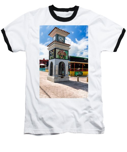 Clock Tower Baseball T-Shirt by Lawrence Burry