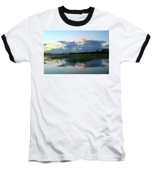 Clouds Over Marsh Baseball T-Shirt