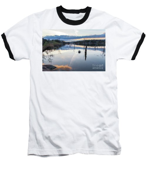 Clouds Reflecting On Large Lake During Sunset Baseball T-Shirt