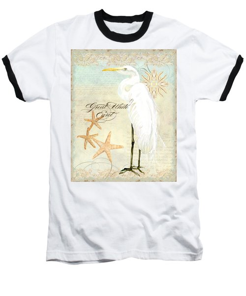 Coastal Waterways - Great White Egret 3 Baseball T-Shirt by Audrey Jeanne Roberts