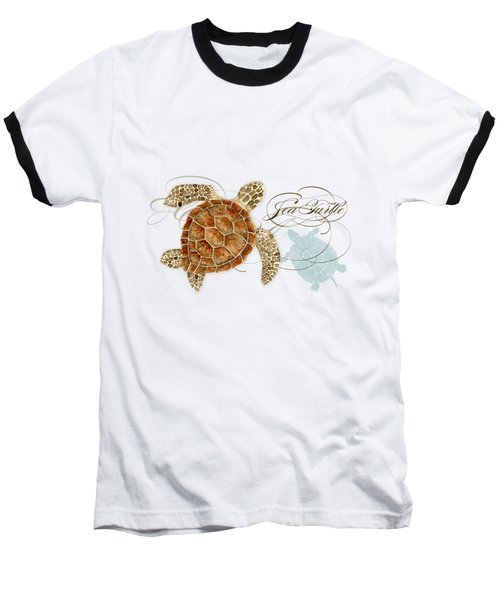Coastal Waterways - Green Sea Turtle Rectangle 2 Baseball T-Shirt