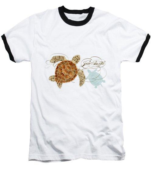 Coastal Waterways - Green Sea Turtle Rectangle 2 Baseball T-Shirt