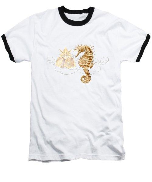Coastal Waterways - Seahorse Rectangle 2 Baseball T-Shirt by Audrey Jeanne Roberts