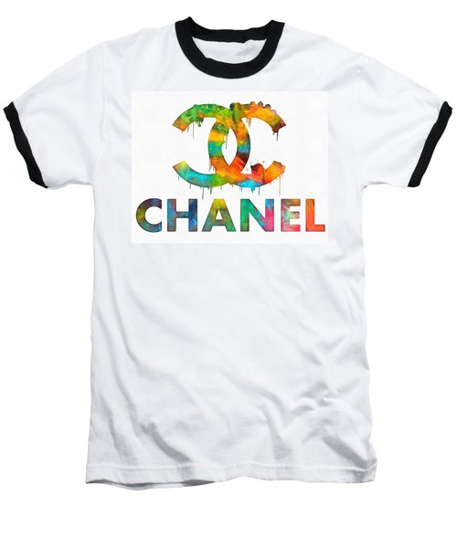 Coco Chanel Paint Splatter Color Baseball T-Shirt by Dan Sproul