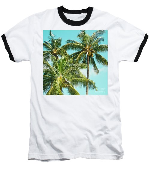 Coconut Palm Trees Sugar Beach Kihei Maui Hawaii Baseball T-Shirt by Sharon Mau